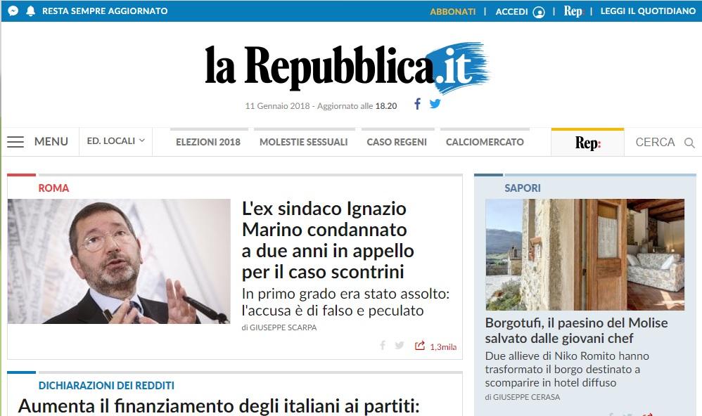 Il Molise su 'Repubblica.it' con Castel del Giudice e i sapori di Borgotufi