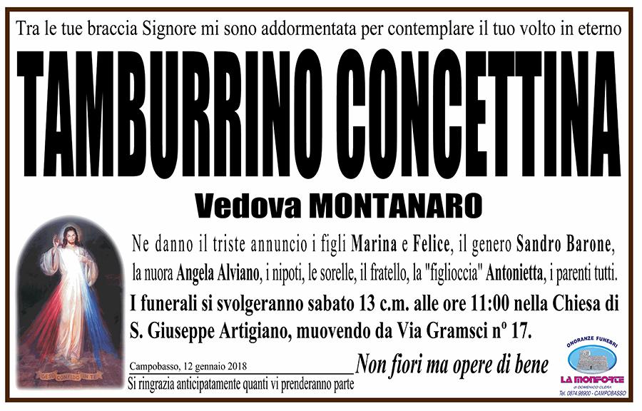 Concettina Tamburrino – 12/01/2018 – Campobasso – Onoranze funebri La Monforte