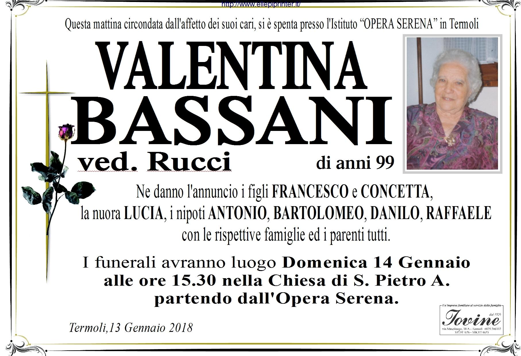 Valentina Bassani, 13/01/2018, Termoli – Onoranze Funebri Iovine