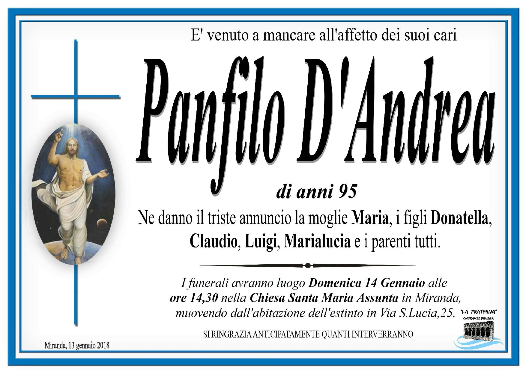 Panfilo D'Andrea, 13/01/2018, Miranda (IS) – Onoranze Funebri La Fraterna