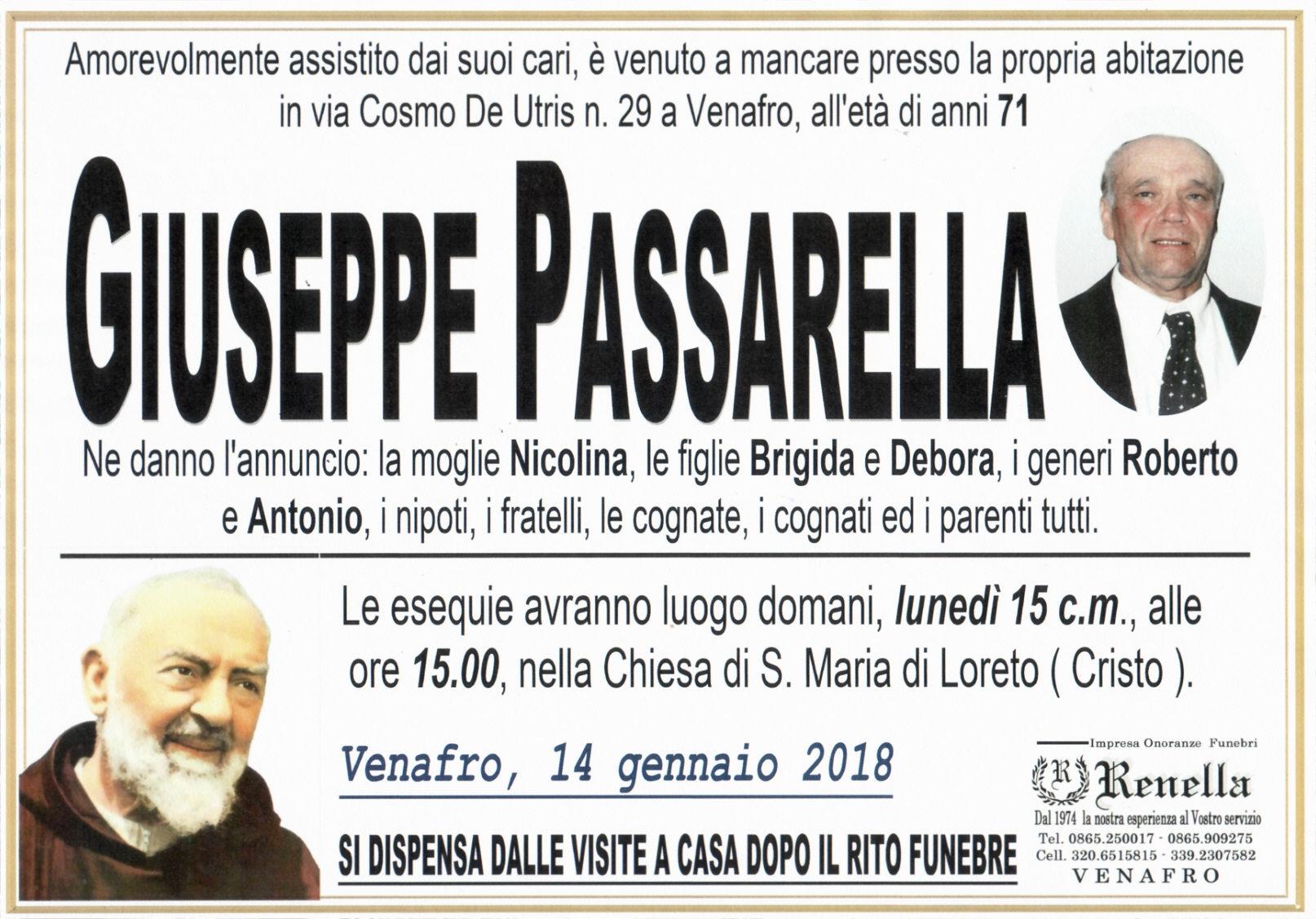 Giuseppe Passarella, 14/01/2018, Venafro – Onoranze Funebri Renella