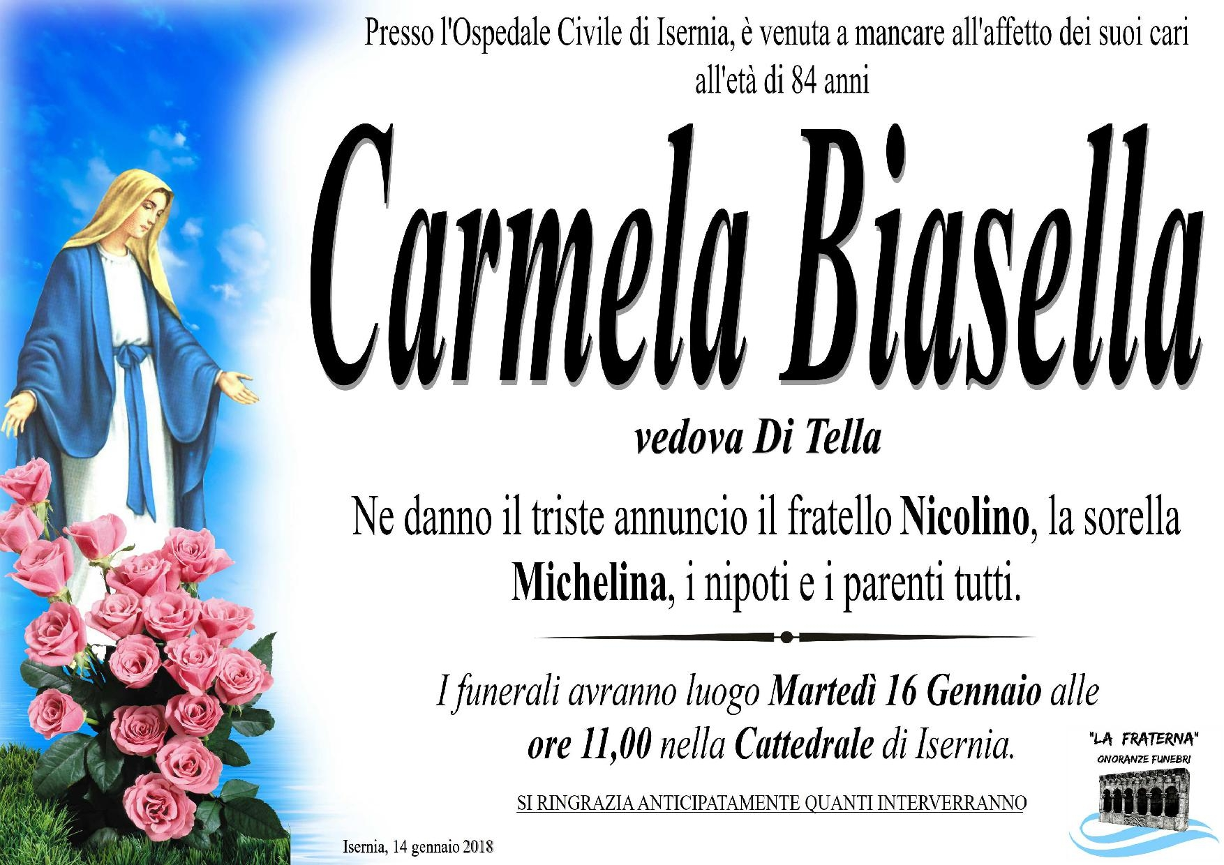 Carmela Biasella, 14/01/2018, Isernia – Onoranze Funebri La Fraterna