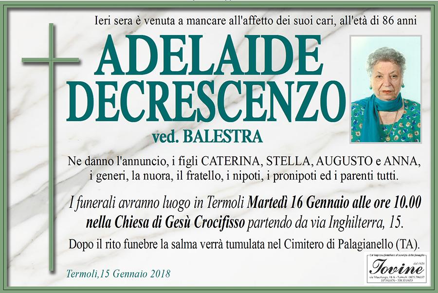 Adelaide Decrescenzo – 15/01/2018 – Termoli – Onoranze funebri Iovine