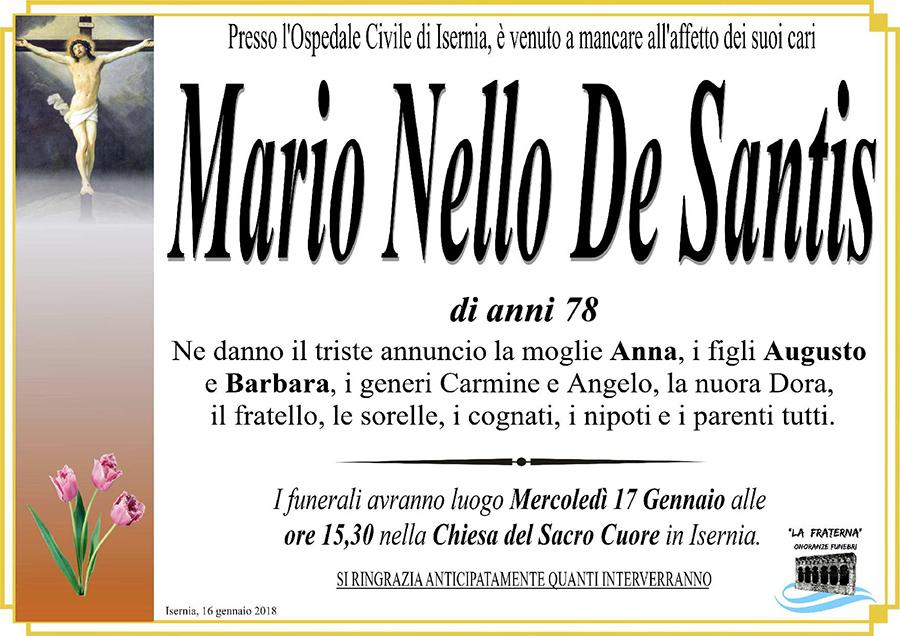 Mario Nello De Santis – 16/01/2018 – Isernia – Onoranze funebri La Fraterna