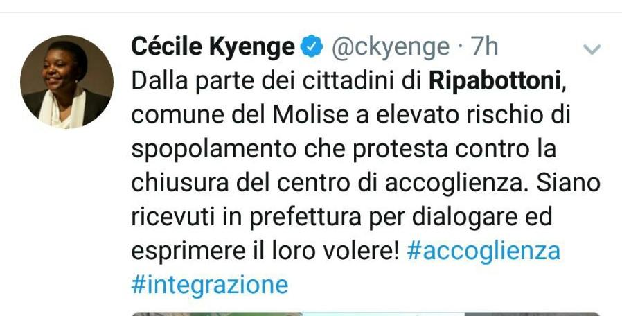"""L'ex Ministro Kyenge sul caso Ripabottoni con un tweet: """"Sono con i cittadini"""""""