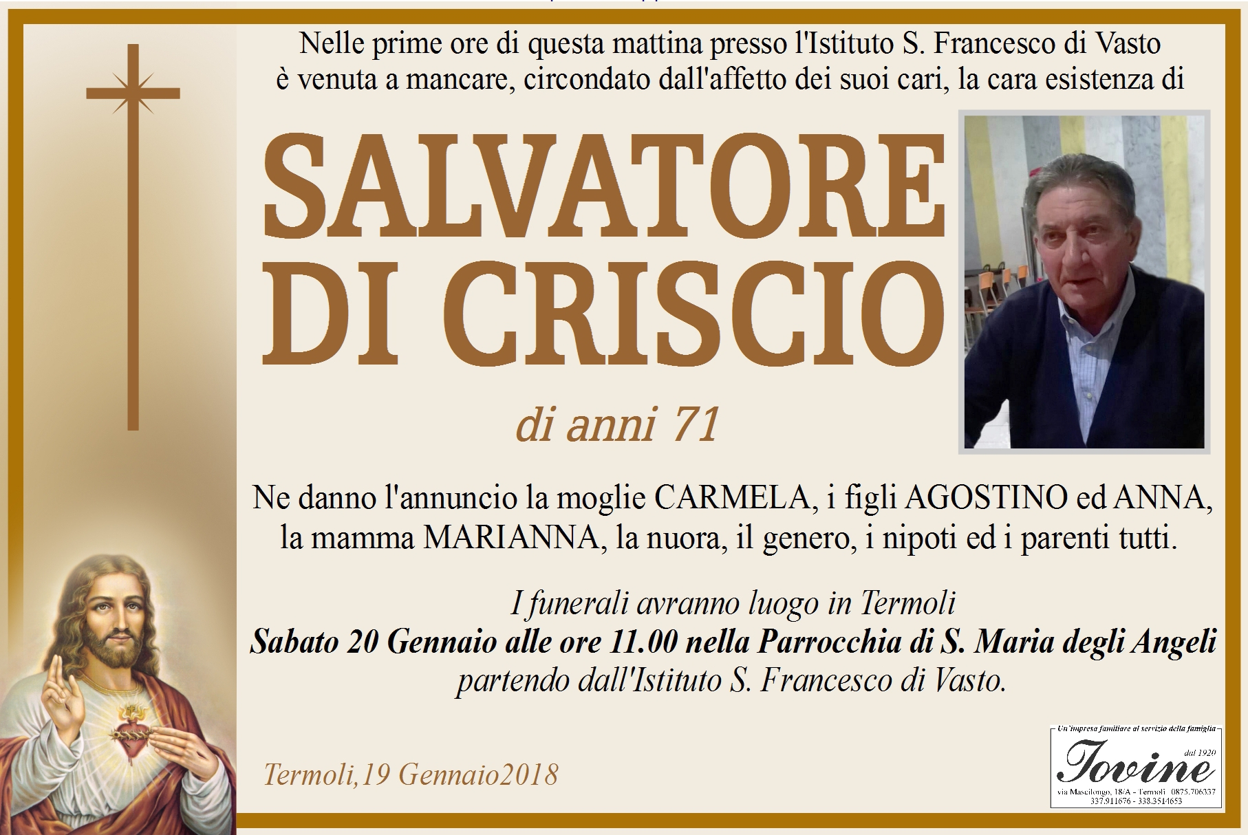 Salvatore Di Criscio – 19/01/2018 – Termoli – Onoranze Funebri Iovine