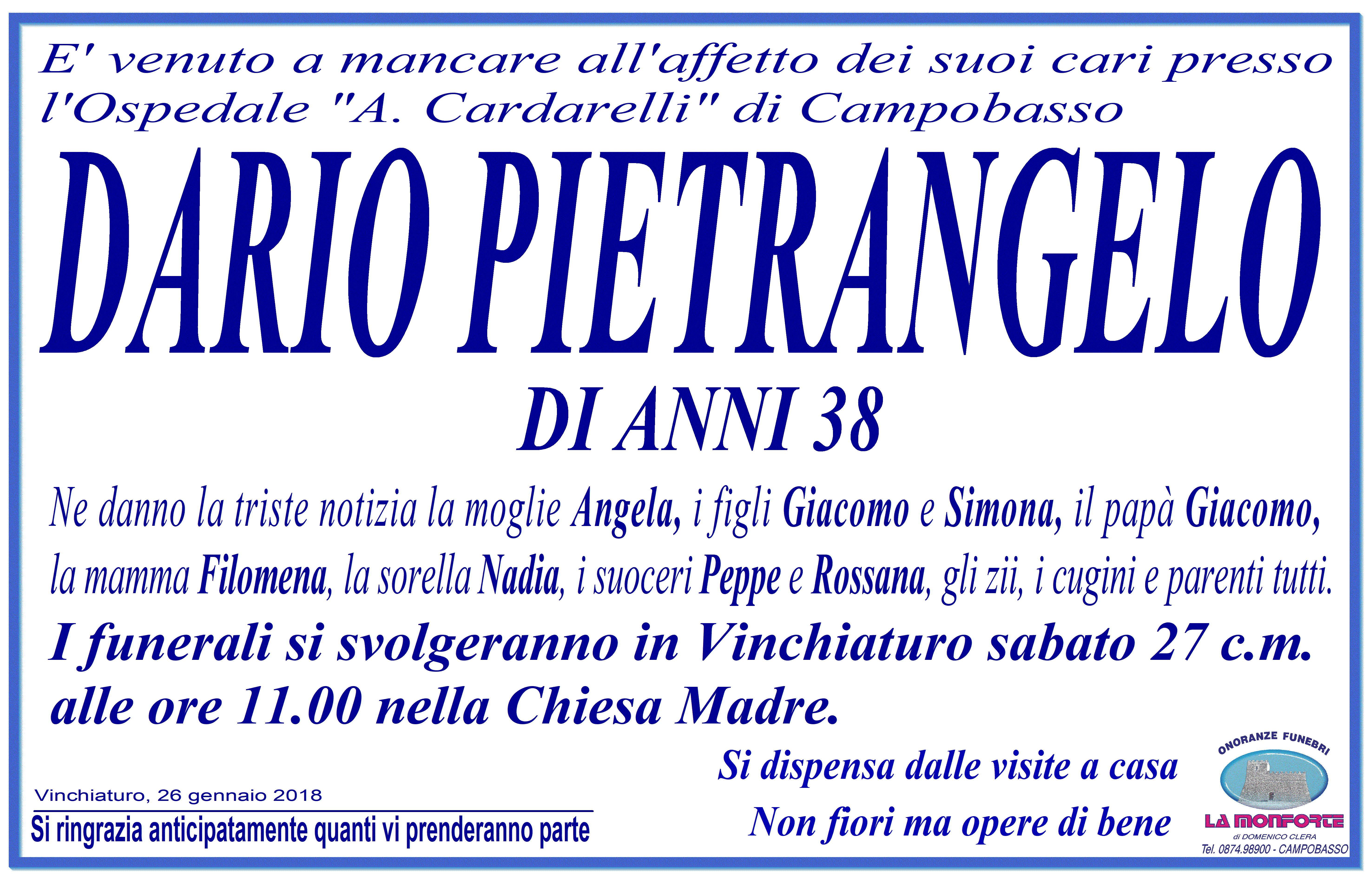 Dario Pietrangelo – 26/01/2018 – Vinchiaturo – Onoranze Funebri La Monforte