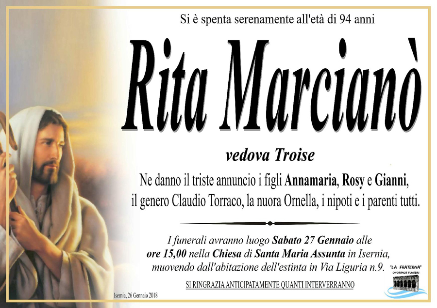 Rita Marcianò – 26/01/2018 – Isernia – Onoranze funebri La Fraterna