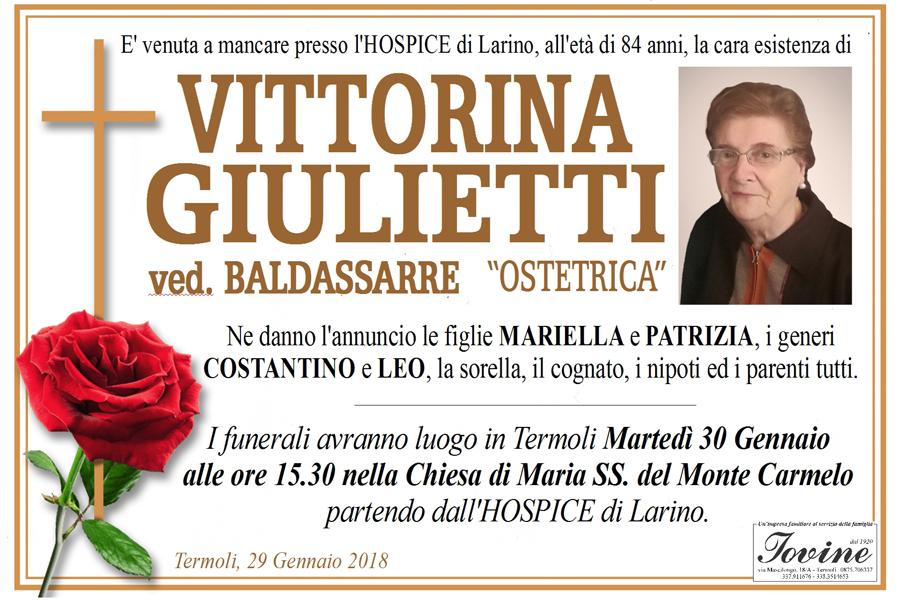 Vittorina Giulietti – 29/01/2018 – Termoli – Onoranze funebri Iovine