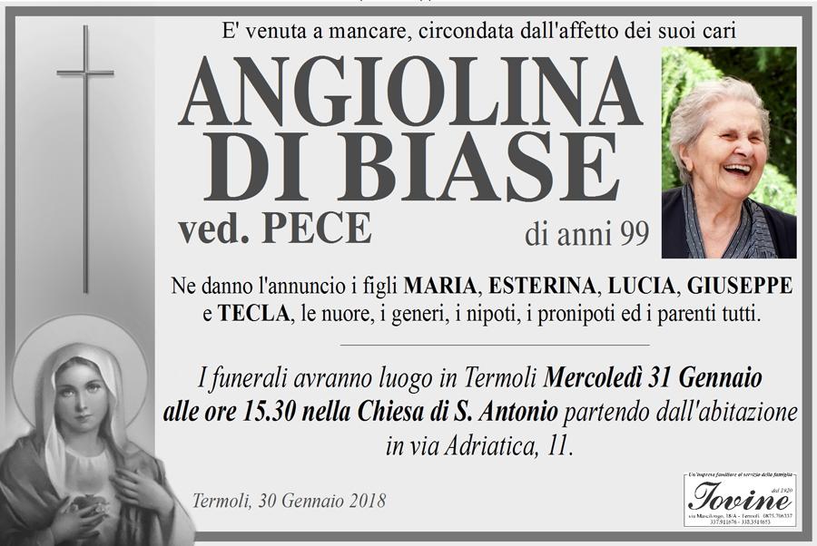 Angiolina Di Biase – 30/01/2018 – Termoli – Onoranze funebri Iovine