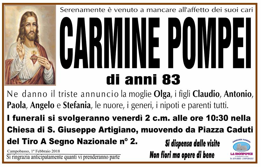 Carmine Pompei – 01/02/2018 – Campobasso – Onoranze funebri La Monforte