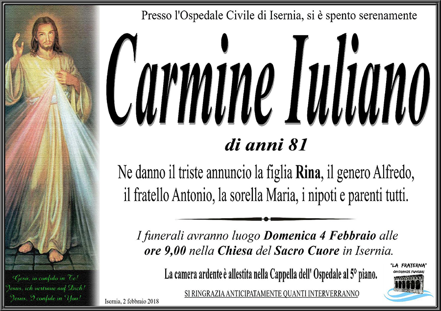 Carmine Iuliano – 02/02/2018 – Isernia – Onoranze funebri La Fraterna