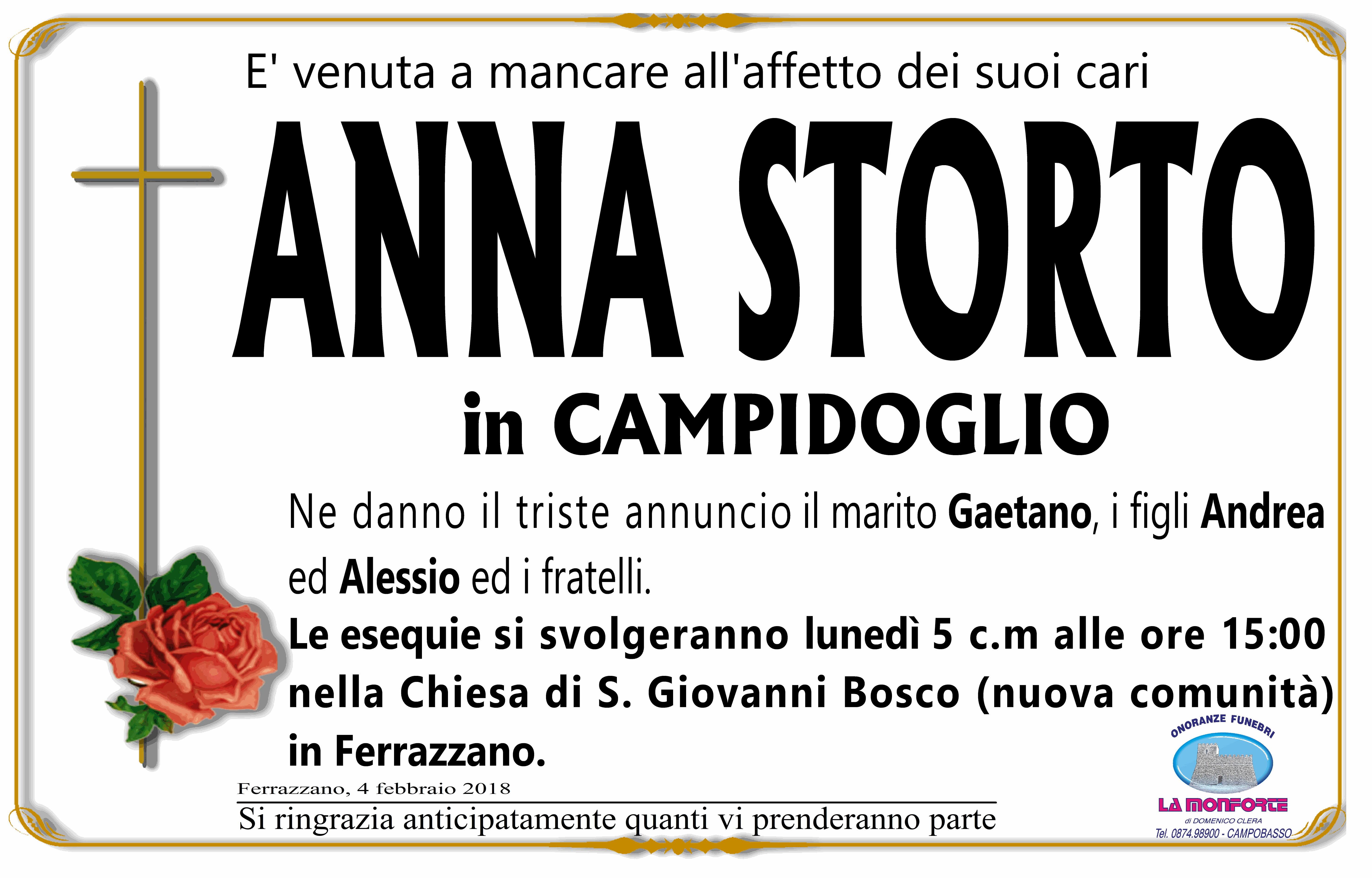 Anna Storto, 4/02/2018, Ferrazzano (CB) – Onoranze Funebri La Monforte