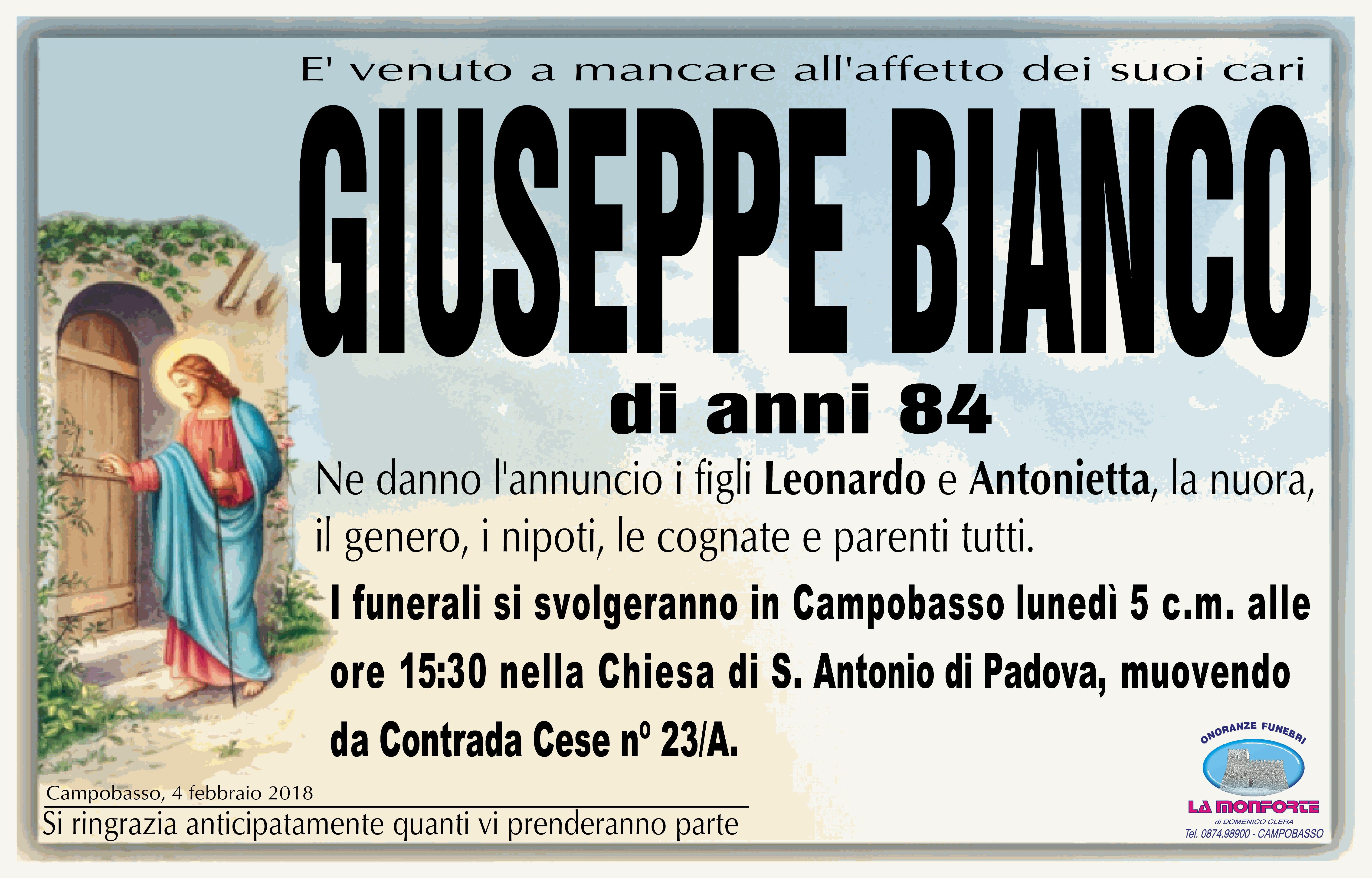 Giuseppe Bianco, 4/02/2018, Campobasso – Onoranze Funebri La Monforte