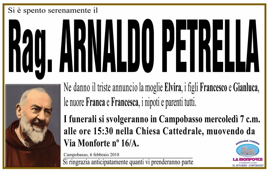 Arnaldo Petrella – 06/02/2018 – Campobasso – Onoranze funebri La Monforte