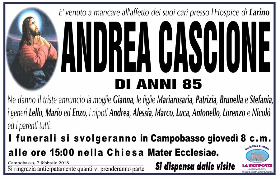 Andrea Cascione – 07/02/2018 – Campobasso – Onoranze funebri La Monforte