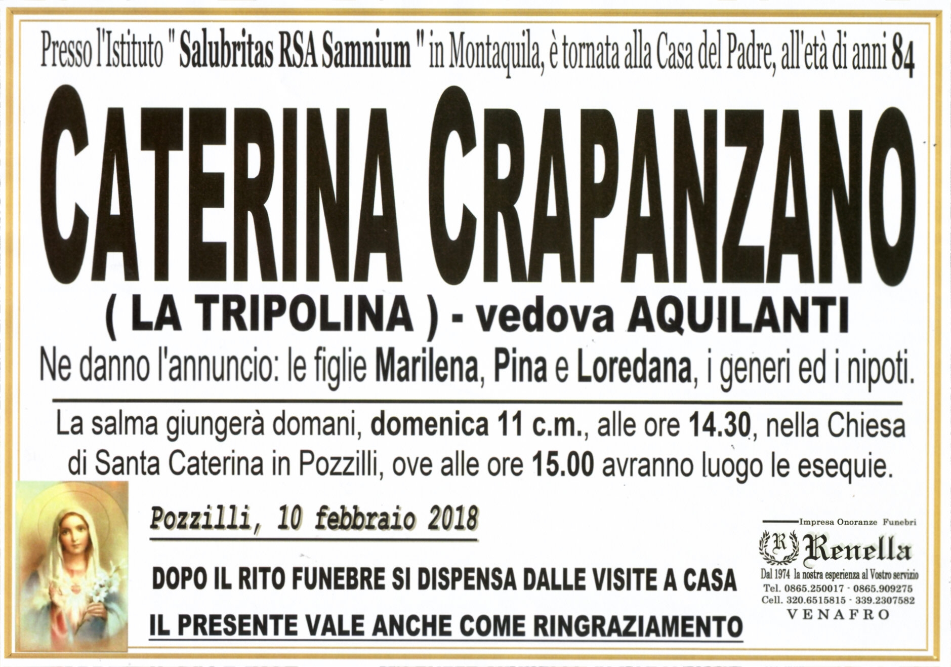 Caterina Capranzano, 10/02/2018, Pozzilli (IS) – Onoranze Funebri Renella