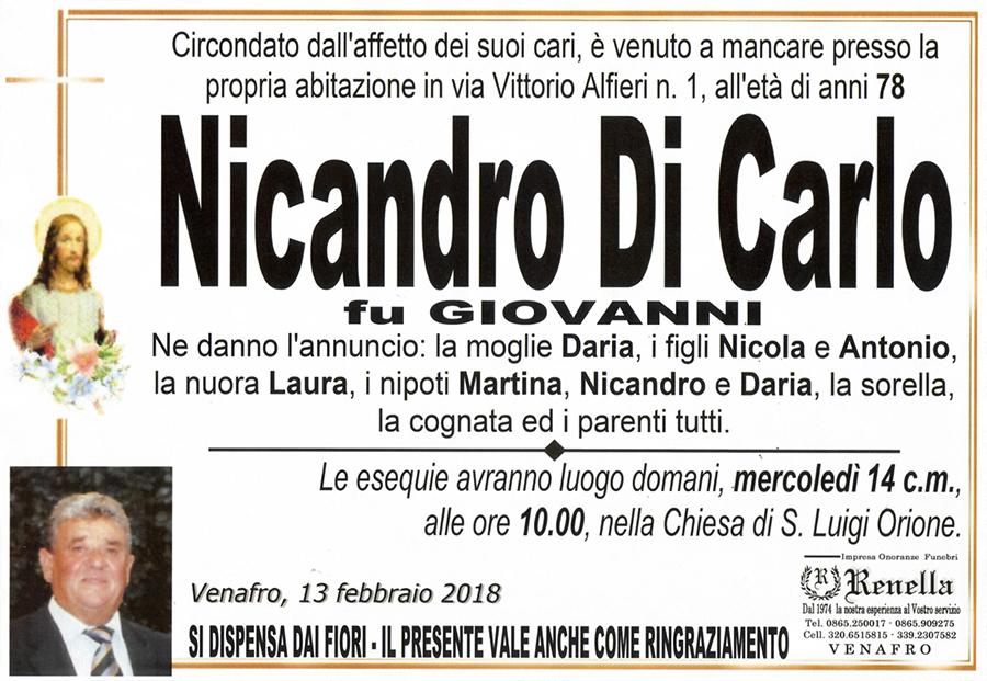 Nicandro Di Carlo – 13/02/2018 – Venafro – Impresa onoranze funebri Renella