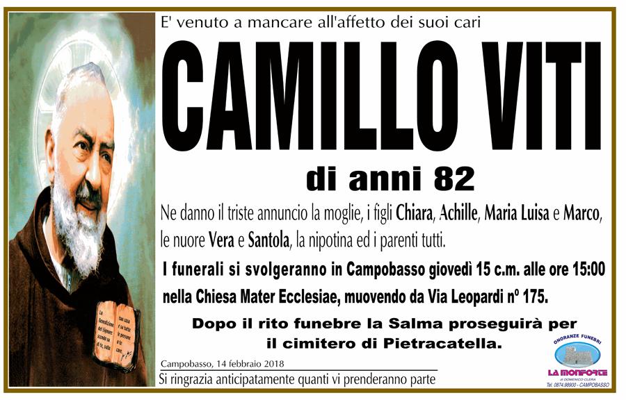 Camillo Viti – 14/02/2018 – Campobasso – Onoranze funebri La Monforte