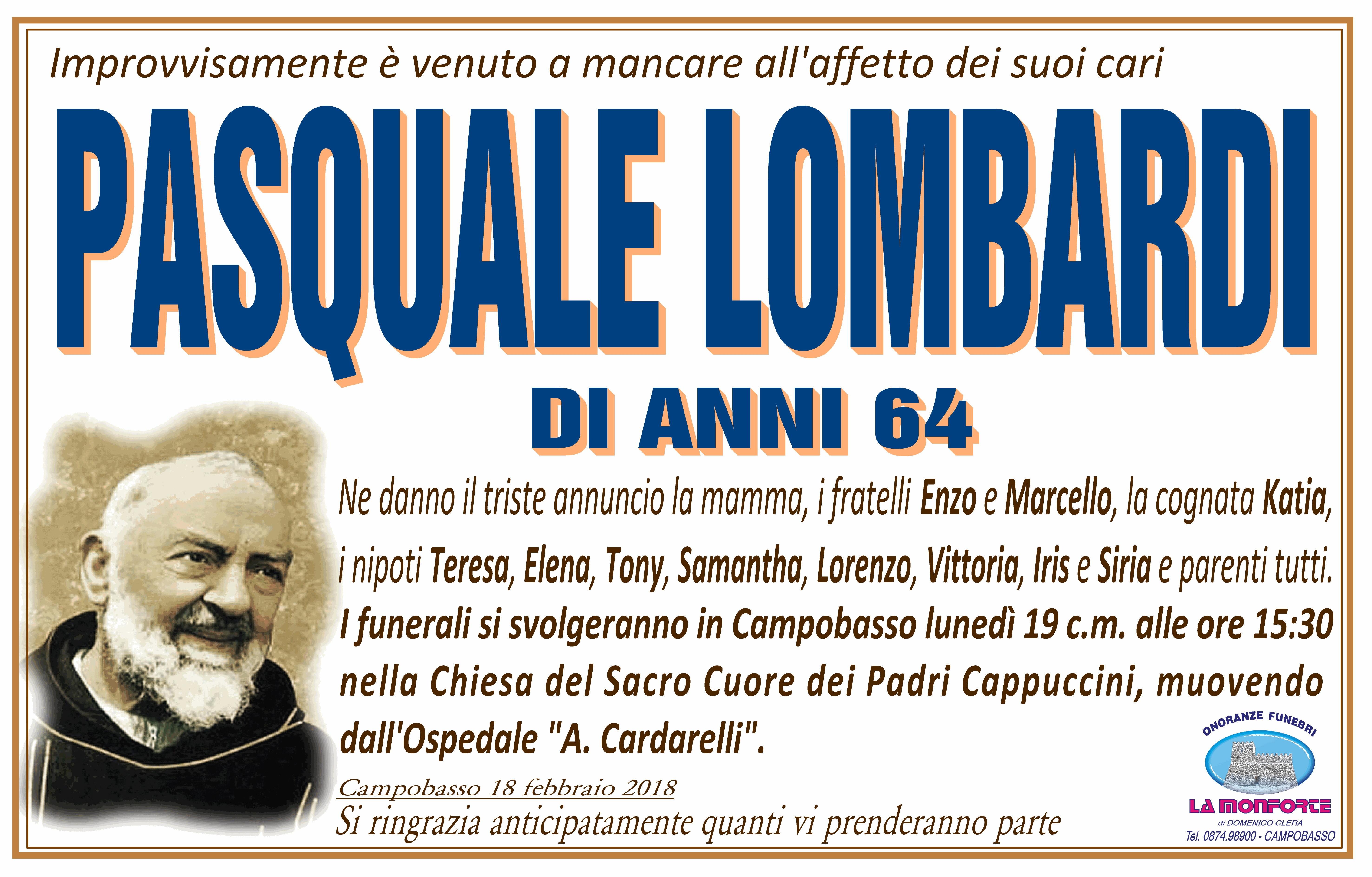 Pasquale Lombardi, 18/02/2018, Campobasso – Onoranze Funebri La Monforte