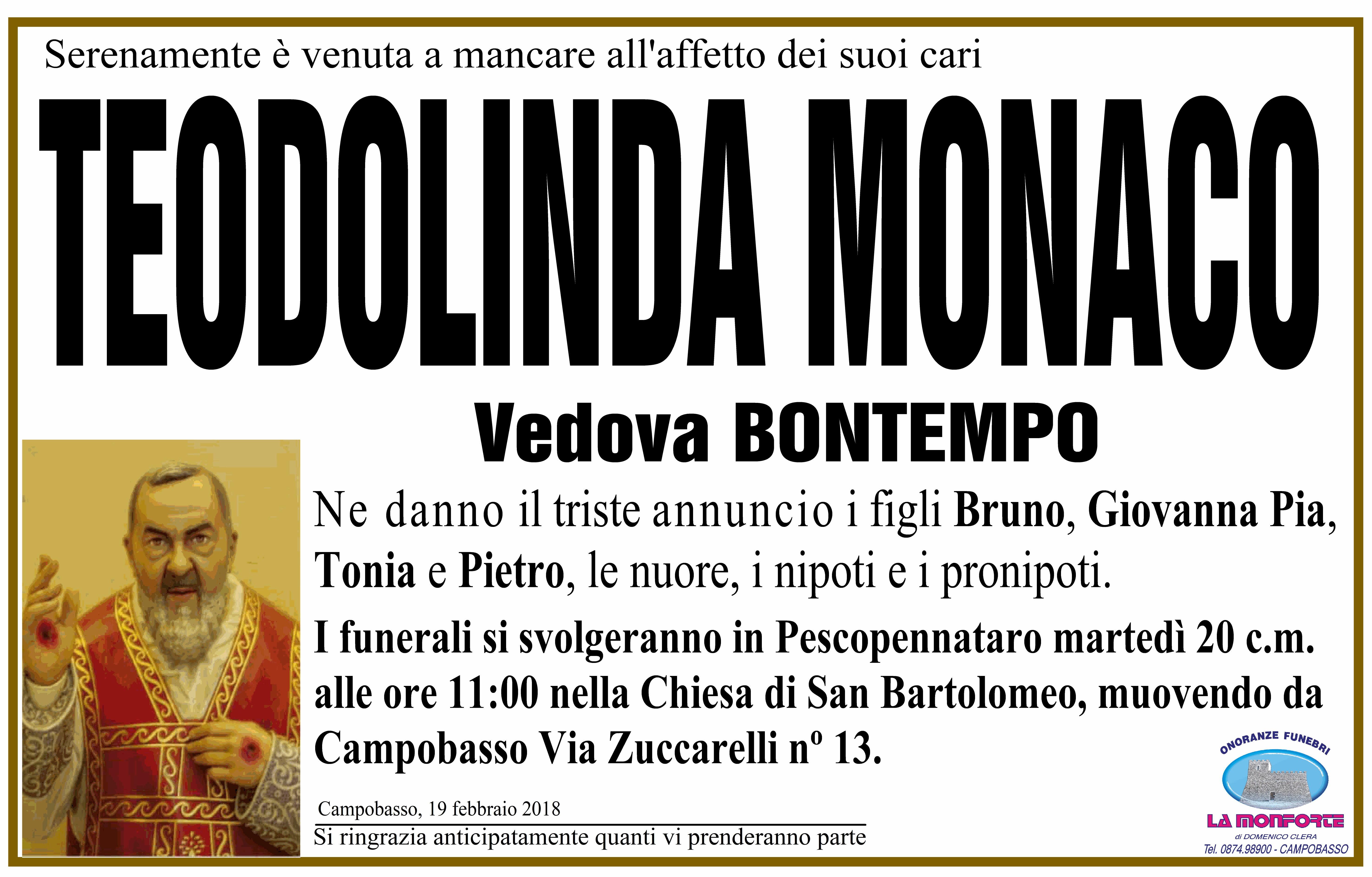 Teodolinda Monaco, 19/02/2018, Campobasso – Onoranze Funebri La Monforte