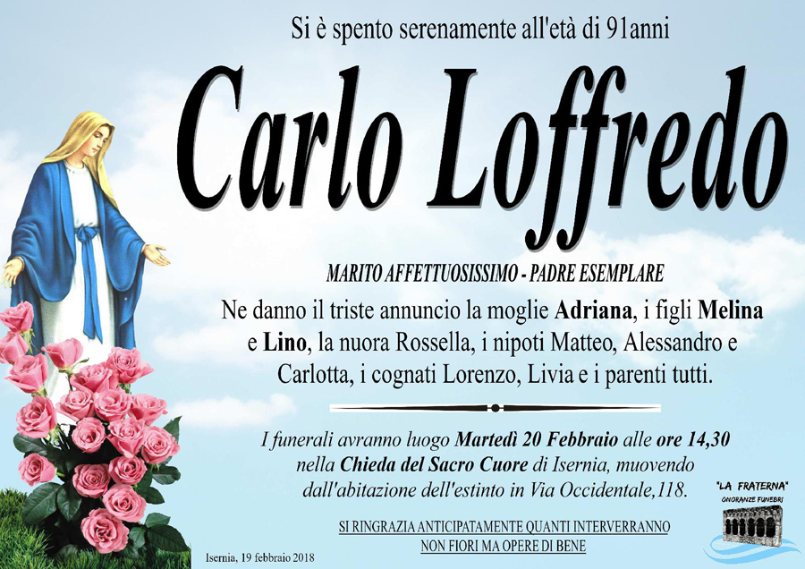 Carlo Loffredo – 19/02/2018 – Isernia – Onoranze funebri La Fraterna