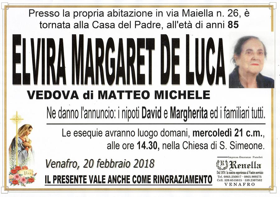 Elvira Margaret De Luca – 20/02/2018 – Venafro – Impresa onoranze funebri Renella
