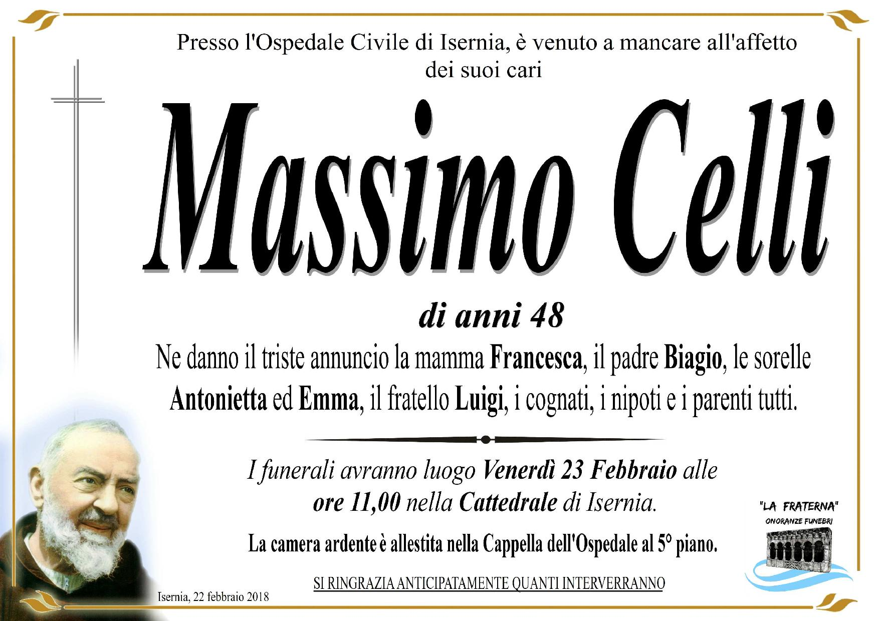 Massimo Celli – 22/02/2018 – Isernia – Onoranze Funebri La Fraterna