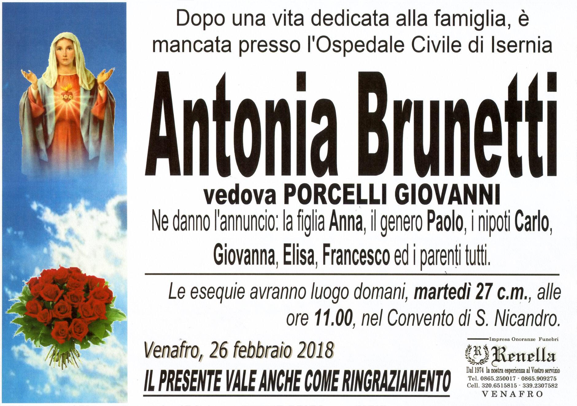 Antonia Brunetti – 26/02/2018 – Venafro – Impresa Onoranze Funebri Renella