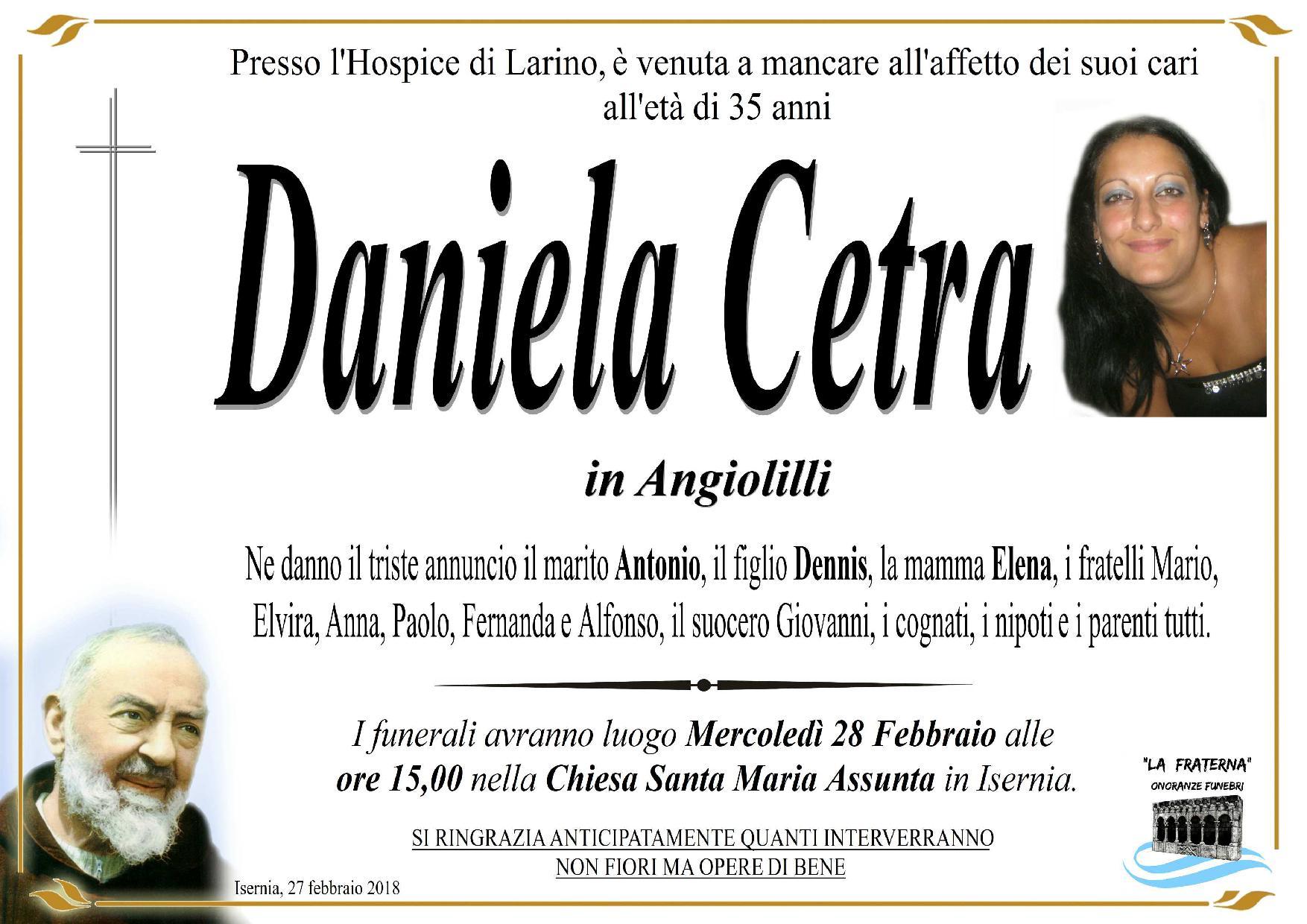 Daniela Cetra – 27/02/2018 – Isernia – Onoranze funebri La Fraterna