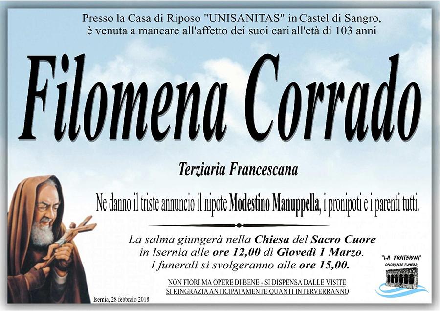 Filomena Corrado – 28/02/2018 – Isernia – Onoranze funebri La Fraterna