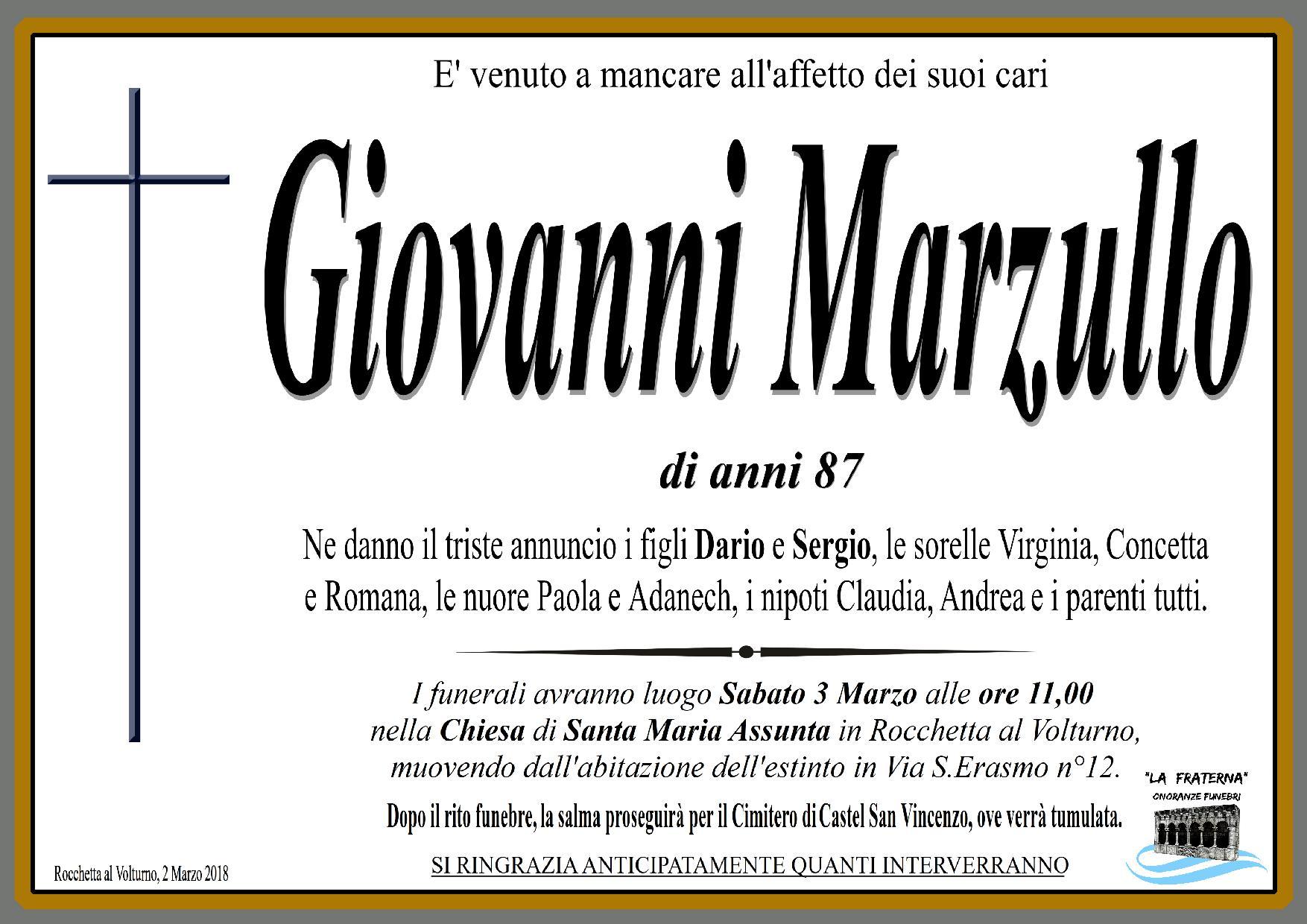 Giovanni Marzullo – 02/03/2018 – Rocchetta al Volturno – Onoranze Funebri La Fraterna