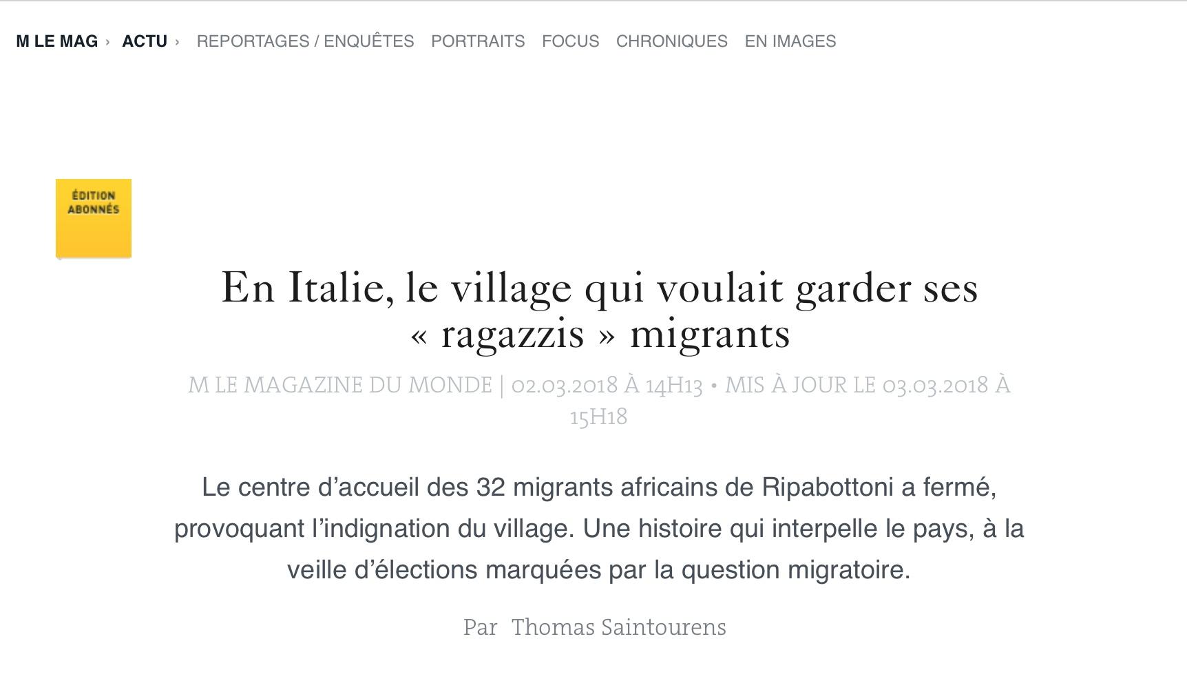 Il caso migranti di Ripabottoni finisce su 'Le Monde'