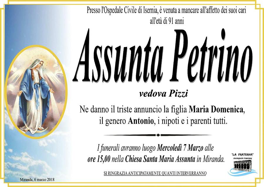 Assunta Petrino – 06/03/2018 – Miranda (Is) – Onoranze funebri La Fraterna