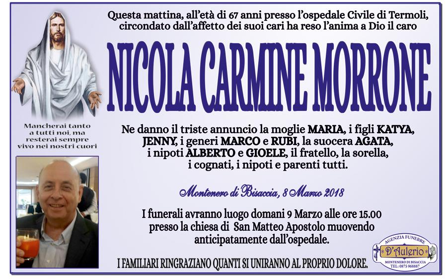 Nicola Carmine Morrone – 08/03/2018 – Montenero di Bisaccia (CB) – Agenzia funebre D'Aulerio