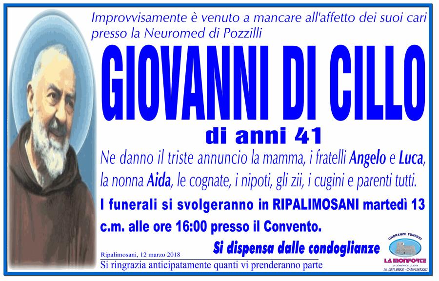 Giovanni Di Cillo – 12/03/2018 – Ripalimosani (CB) – Onoranze funebri La Monforte