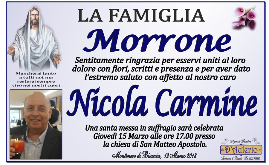 Ringraziamento Famiglia Morrone – Montenero di Bisaccia (CB)