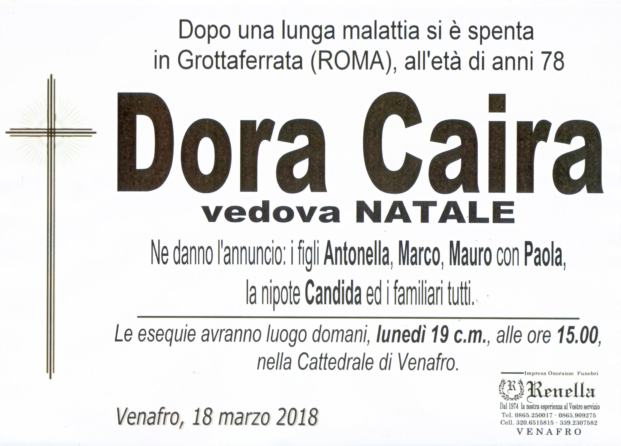 Dora Caira, 18/03/2018, Venafro (IS) – Onoranze Funebri Renella