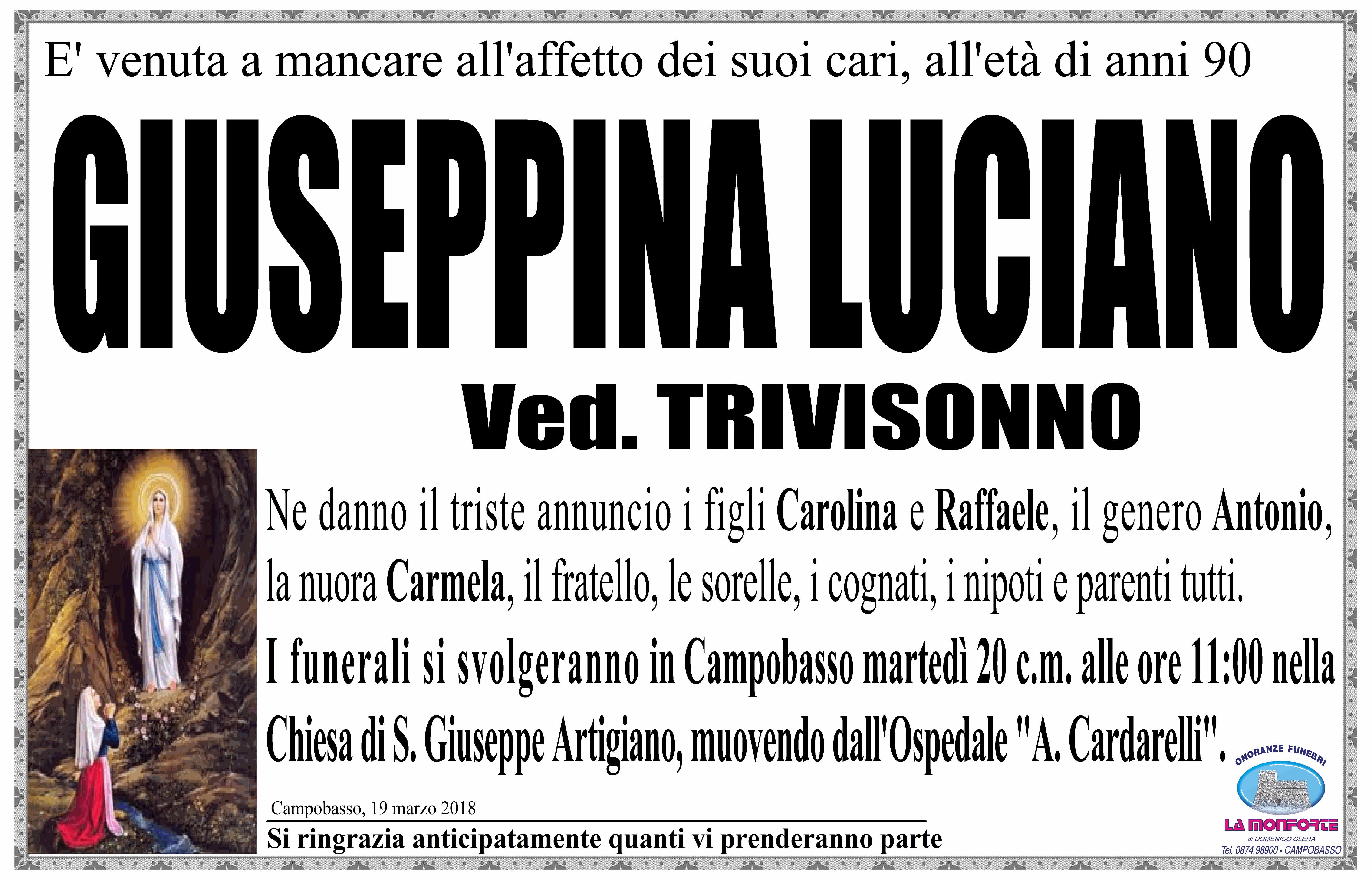 Giuseppina Luciano – 19/03/2018 – Campobasso – Onoranze Funebri La Monforte