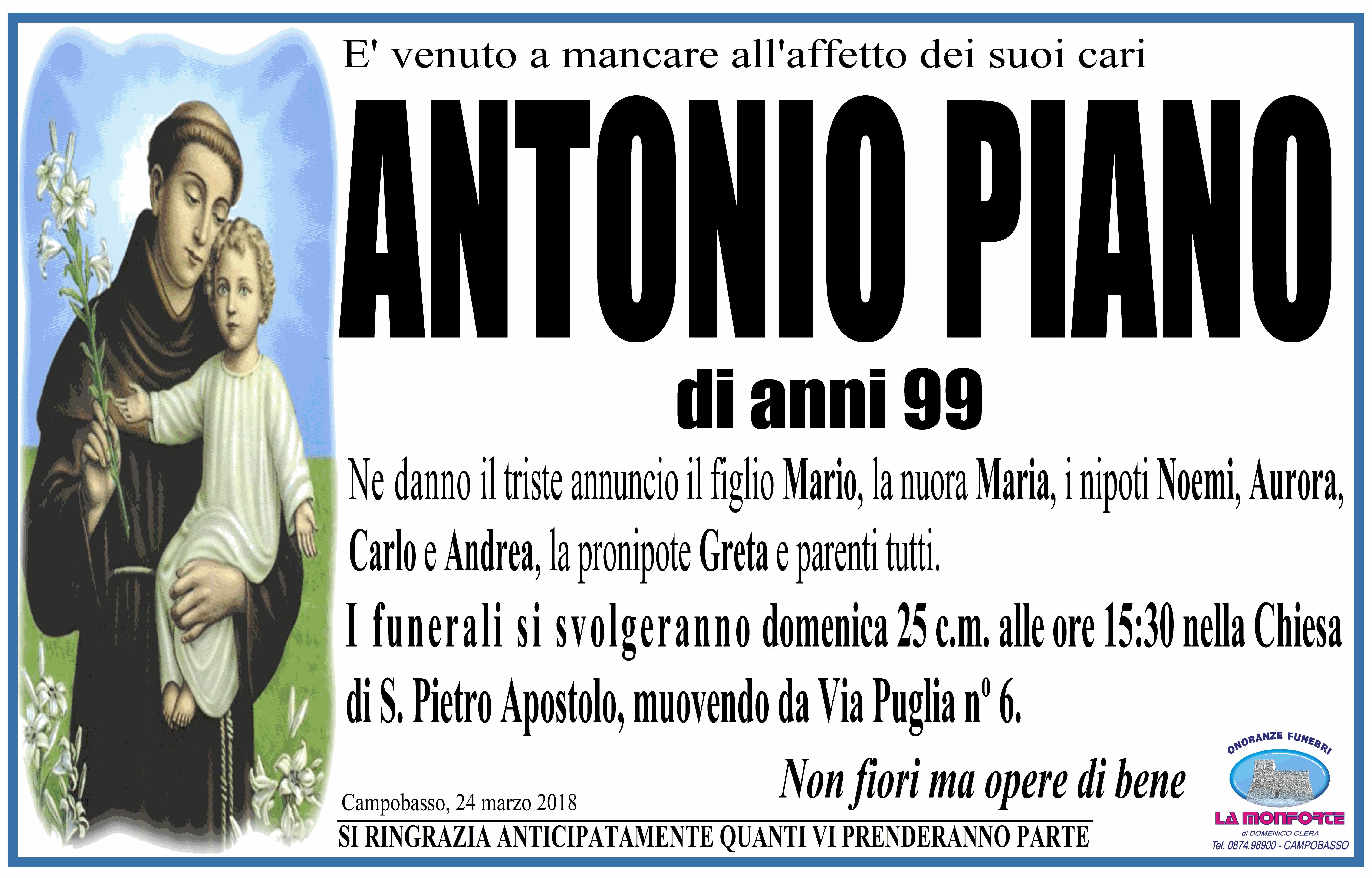 Antonio Piano – 24/03/2018 – Campobasso – Onoranze Funebri La Monforte