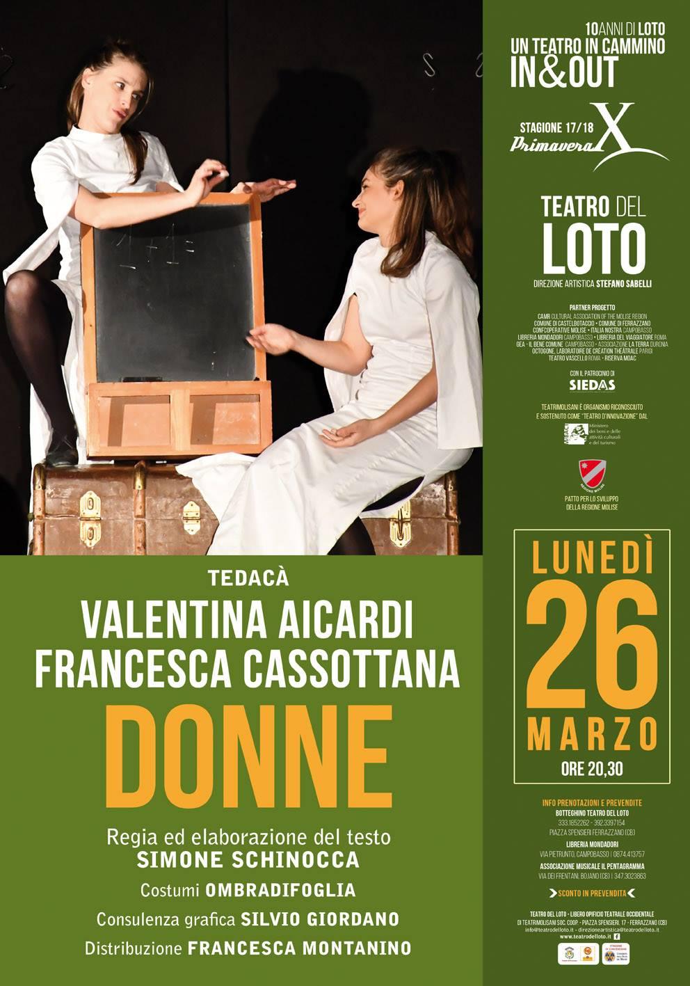 TEATRO – Al Loto in scena lo spettacolo 'Donne'
