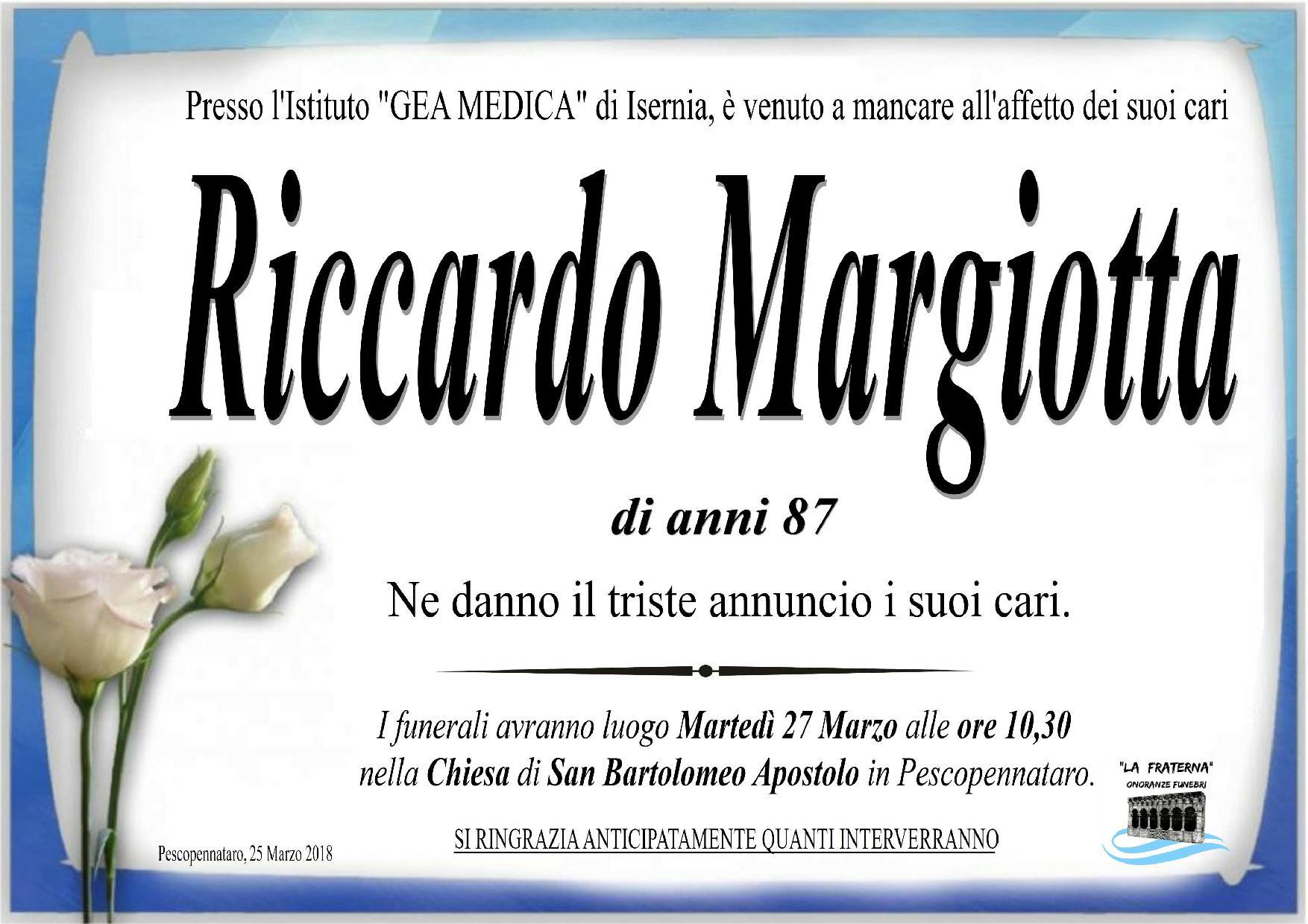 Riccardo Margiotta – 26/03/2018 – Pescopennataro (IS) – Onoranze Funebri La Fraterna