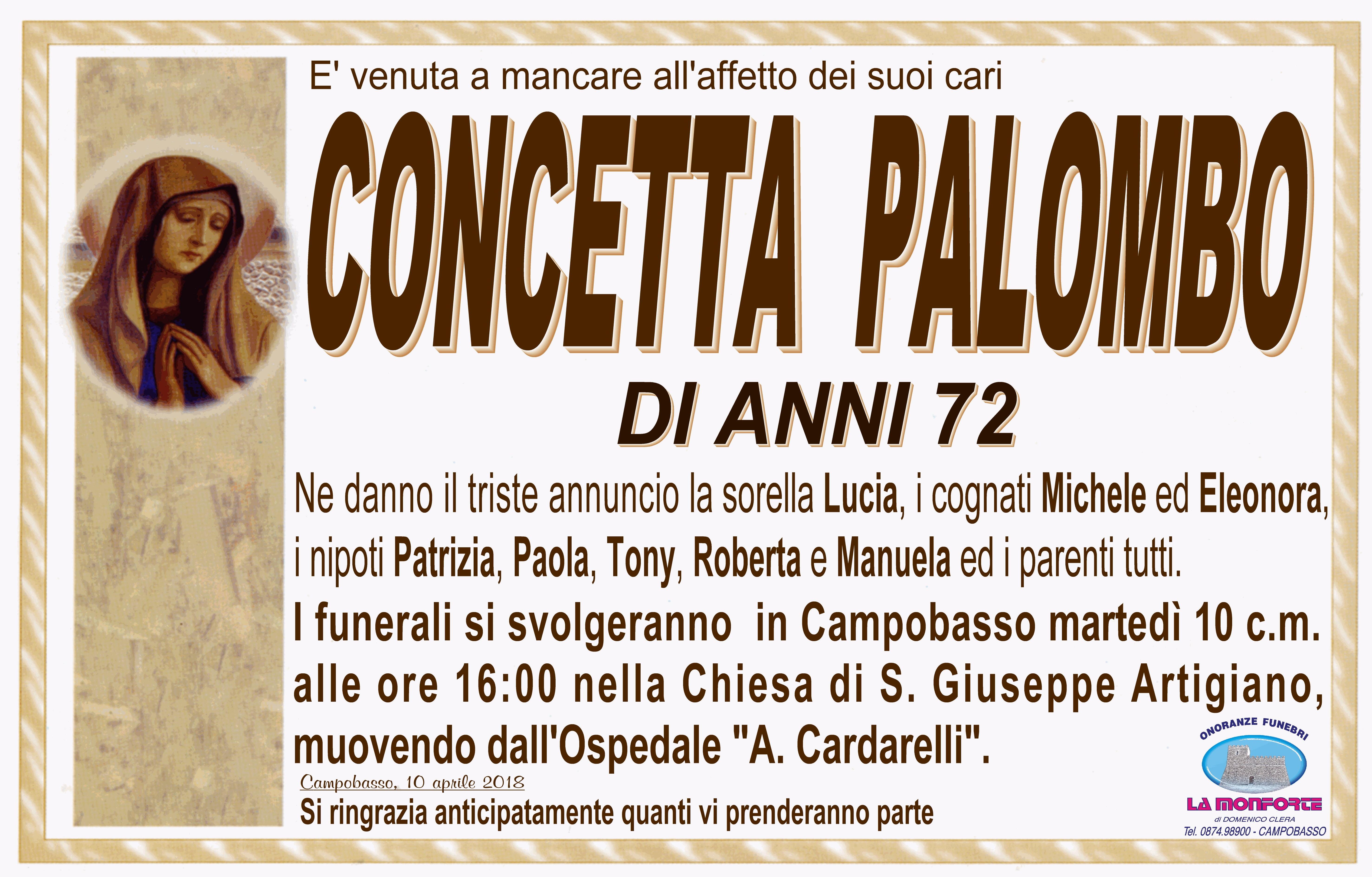 Concetta Palombo, 10/04/2018, Campobasso – Onoranze Funebri La Monforte