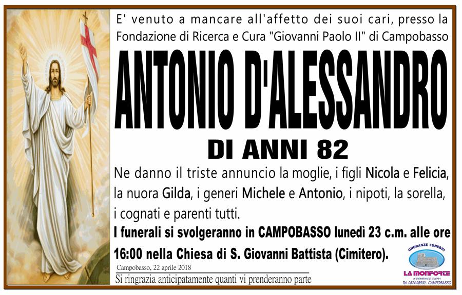 Antonio D'Alessandro – 22/04/2018 – Campobasso – Onoranze funebri La Monforte