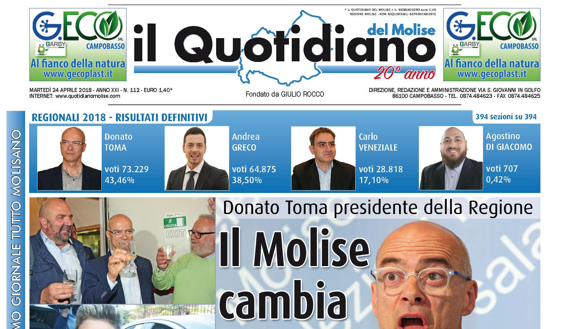 E' ancora 'Speciale elezioni' de 'Il Quotidiano del Molise' domani in edicola, oggi il tutto esaurito