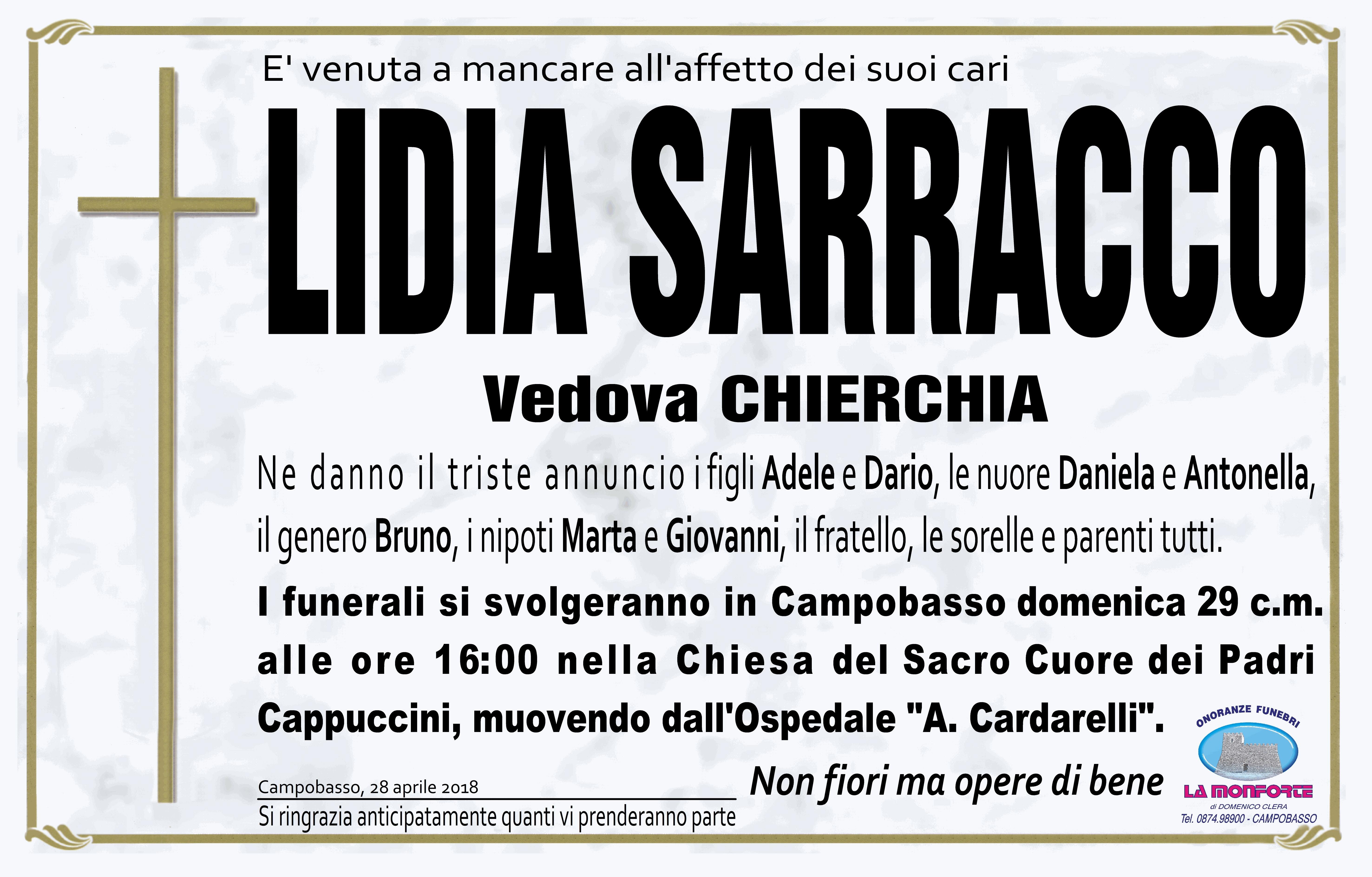 Lidia Sarracco – 28/04/18 – Campobasso – Onoranze Funebri La Monforte