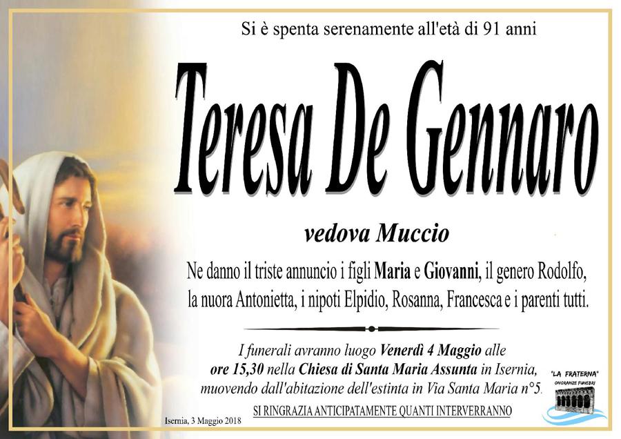 Teresa De Gennaro – 03/05/2018 – Isernia – Onoranze funebri La Fraterna