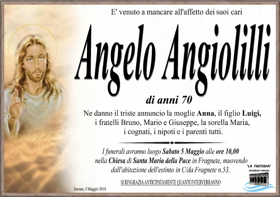 Angelo Angiolilli – 03/05/2018 – Isernia – Onoranze funebri La Fraterna