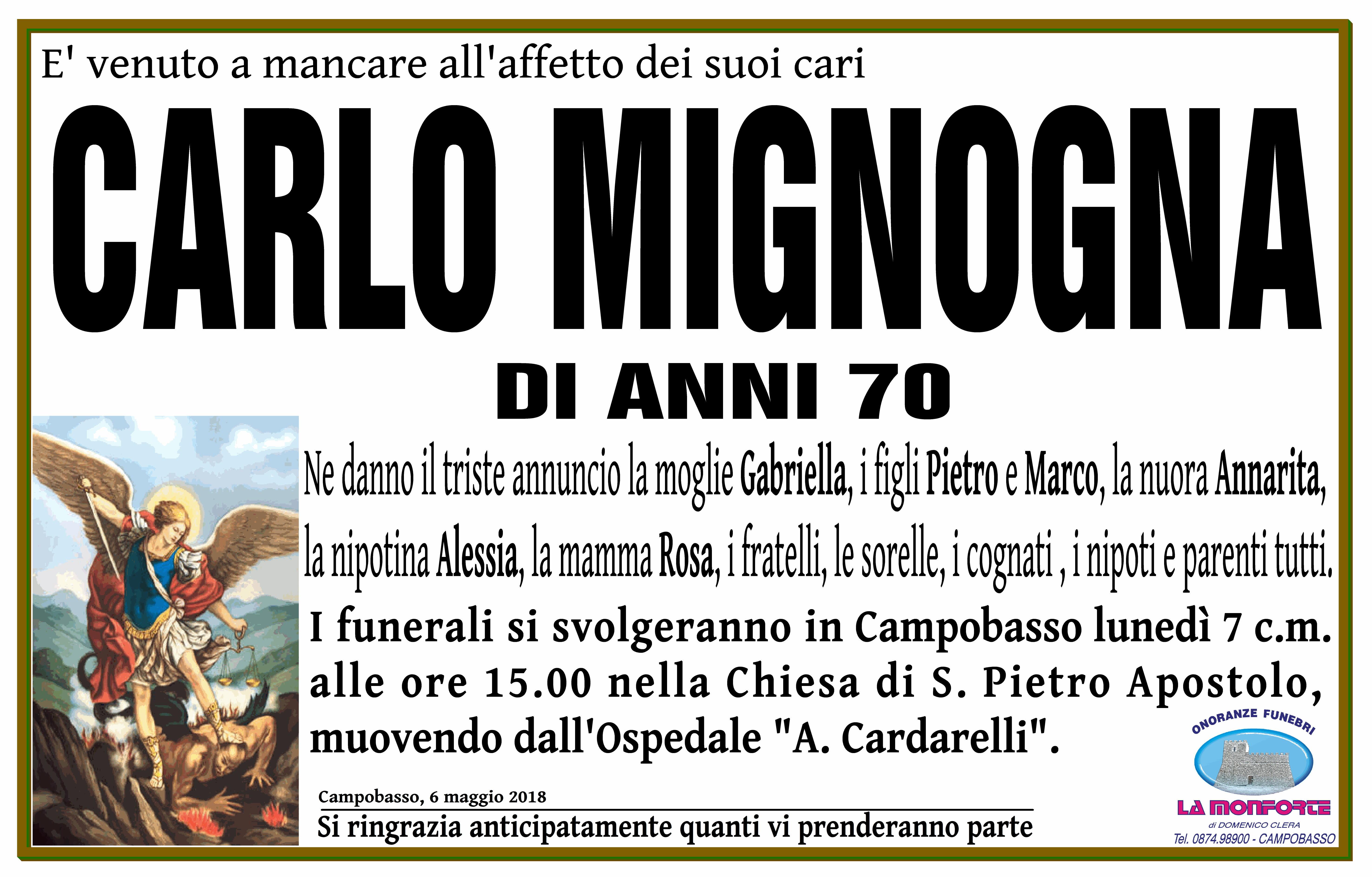 Carlo Mignogna – 06/05/2018 – Campobasso – Onoranze Funebri La Monforte