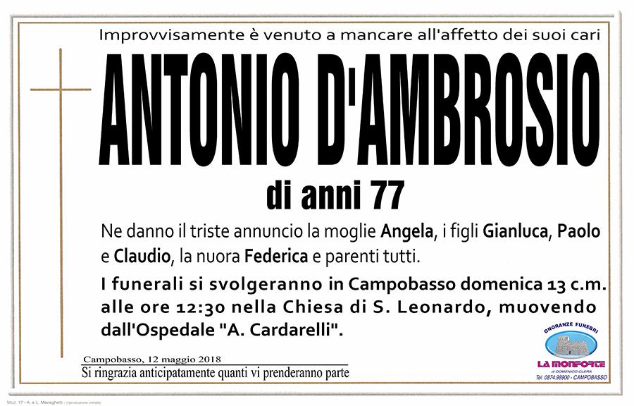 Antonio D'Ambrosio – 12/05/2018 – Campobasso – Onoranze funebri La Monforte